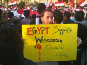Manifestante en Wisconsin