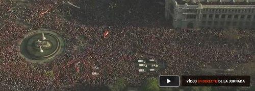 Vista área de la manifestación en Madrid