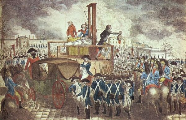 Luis XVI, momentos después de perder la cabeza (cuadro de Georg Heinrich Sieveking).