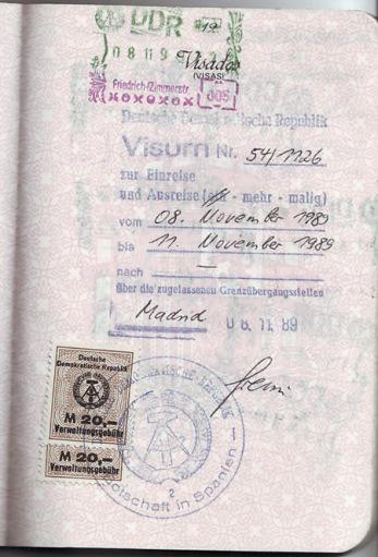 Mi visado de entrada en Berlín Este en la víspera de la apertura del Muro