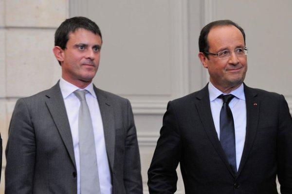 Valls y Hollande, primer ministro  y presidente de Francia, respectivamente
