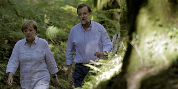 Merkel y Rajoy reunidos en Galicia. Verano 2014