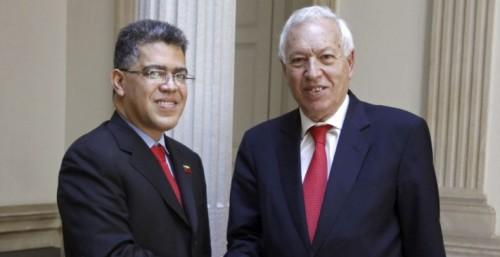 El ministro español de exteriores con su homólogo venezolano
