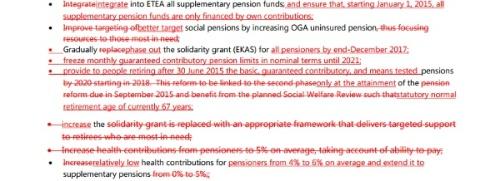 Un boligrafo con muy clara intencionalidad tacha las propuestas griegas